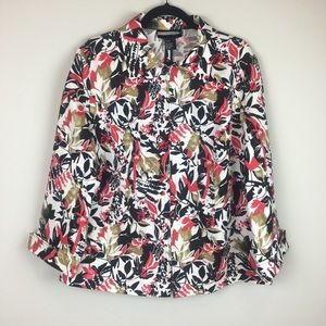 Requirements Floral Light Weight Zipper Blazer